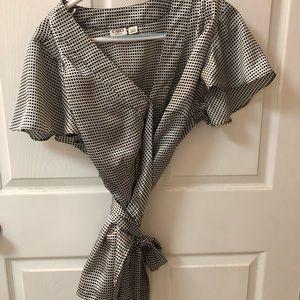 Black and white wrap blouse